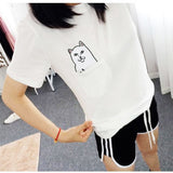 Pocket Cat Harajuku Short Sleeve Plus size T-Shirt - Kawaii Treats