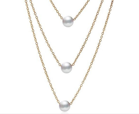 Trendy Multi Layer Simulated Pearl Choker Vintage  Necklaces