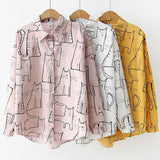 Cute Cat Print Loose Tops Women <3 Colors> - Kawaii Treats