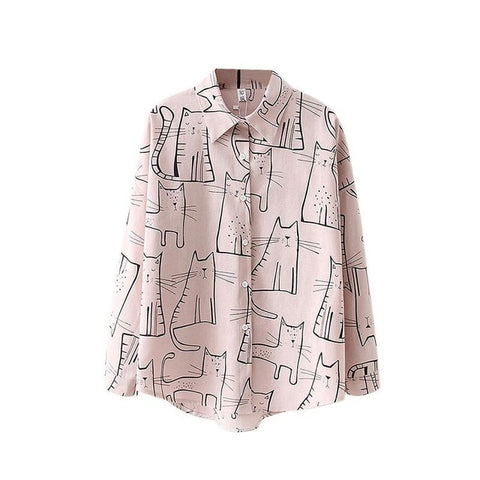 Cute Cat Print Loose Tops Women <3 Colors>