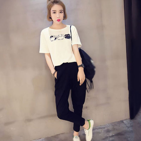 Cat T-shirt + Pockets Casual Long Pants 2 Piece Set