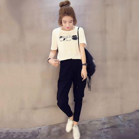 Cat T-shirt + Pockets Casual Long Pants 2 Piece Set - Kawaii Treats