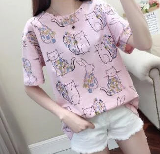 Loose Short Sleeve T-shirt <2 Colors> - Kawaii Treats