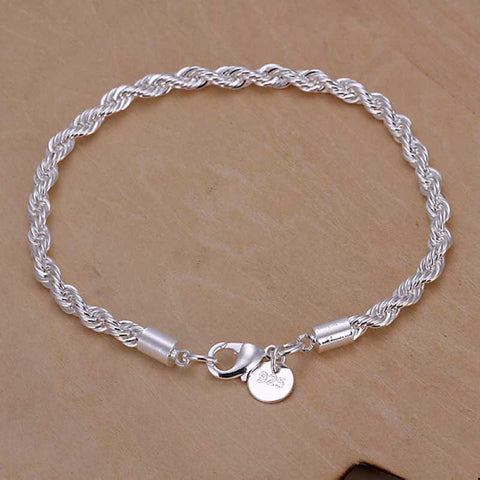 Silver Plated Twisted Rope Chain with Charm Bracelet - Kawaii Treats