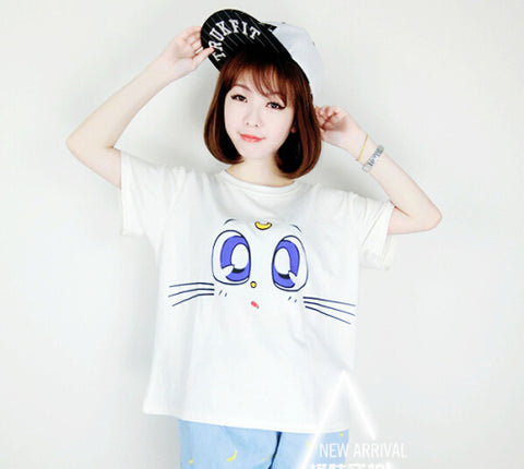 Blue Cat Eyes Drop Ship Harajuku T-Shirt - Kawaii Treats