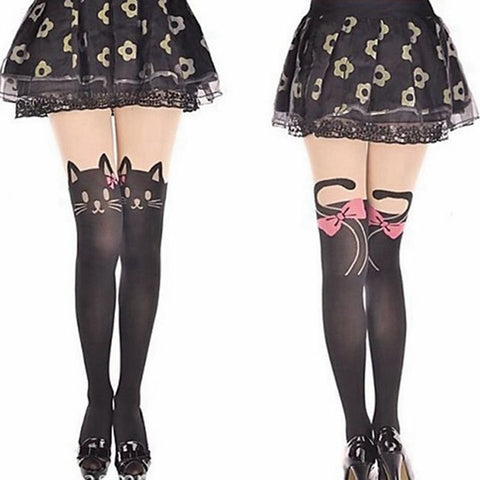 Fashionable Kitty Head in Pink Bow and Tails Tights - Kawaii Treats
