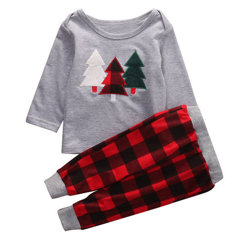 2pcs Unisex Kids Christmas Tree Top T-shirt and Pant Clothes