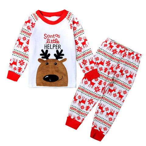 Printed Santas Little Helper + Deer Printed Sleepwear Set - Kawaii Treats