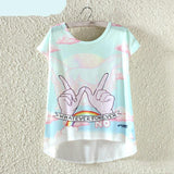 Harajuku Short Sleeve Cute Fashion Ladies T-Shirt - Kawaii Treats