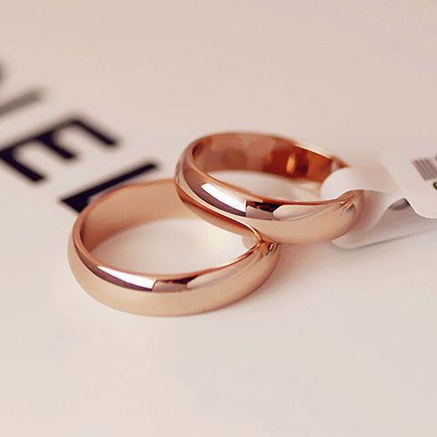 Rose Gold Simple Round Wedding Ring - Kawaii Treats
