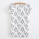 Harajuku Hole Tassel Stars Print Short Sleeve T-Shirt - Kawaii Treats
