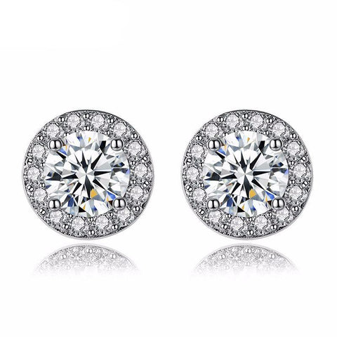 Silver Color Round Shape Stud Earrings with AAA Zircon - Kawaii Treats