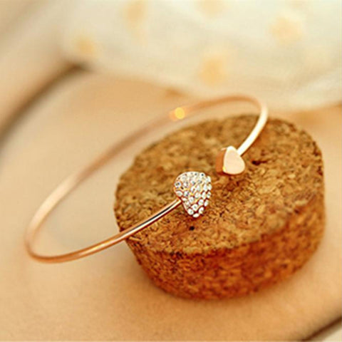 Rhinestone Peach Heart Crystal Gold Ladies Bangle - Kawaii Treats