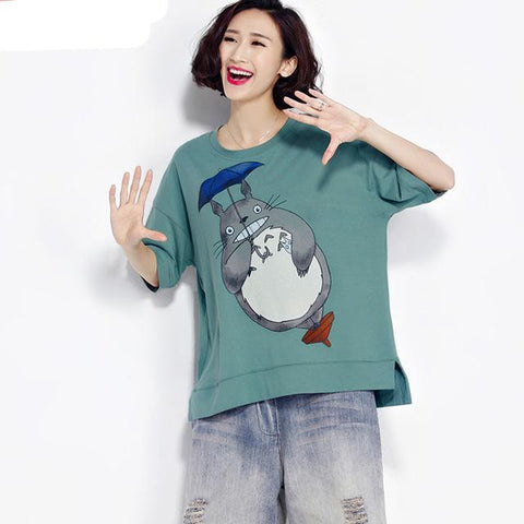Totoro Plus Size Women O Neck T-Shirt - Kawaii Treats