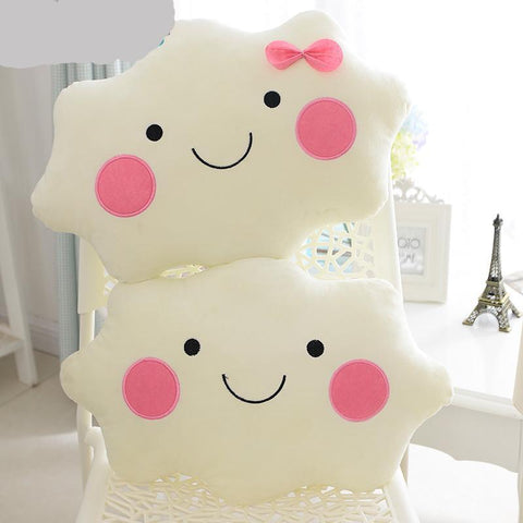 Smiley Face Bow Cloud Cushion Plush Toy