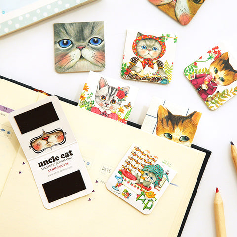 4 PCS Uncle Cat Magnetic Bookmarks - Kawaii Treats