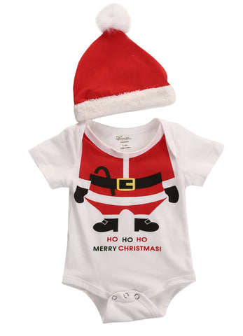 2 Pcs Newborn Babies Christmas Bodysuits Santa Hat Clothes