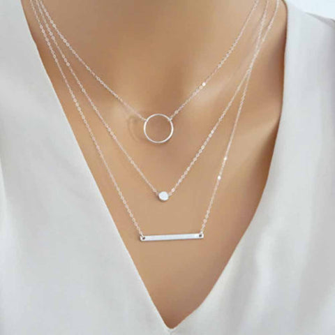 Wild Aperture Metal Rods Gold Silver Layered Women Necklace