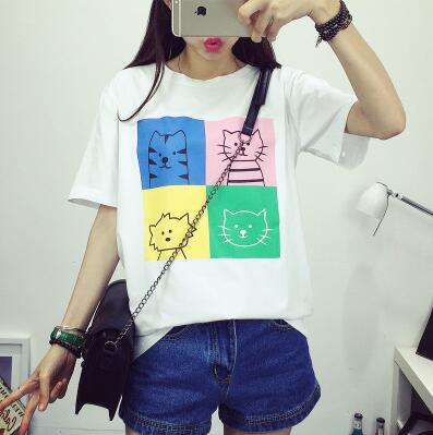Ladies Short Sleeve Harajuku Kitty Printed T-Shirt - Kawaii Treats