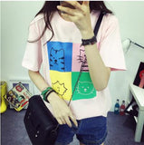 Ladies Short Sleeve Harajuku Kitty Printed T-Shirt