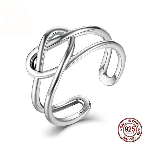Sterling Silver 925 Heart Knot Adjustable Ladies Ring - Kawaii Treats