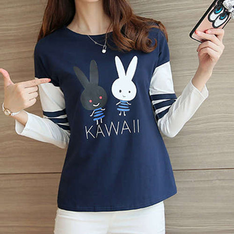 Long Sleeve Bunny Cartoon Girls T-Shirt - Kawaii Treats