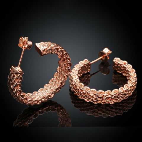 Rose Gold Net Structure Elegant Stud Earrings - Kawaii Treats