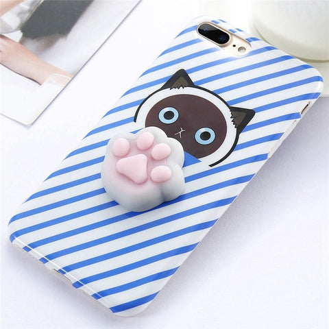 Paw Blue Stripes Squishy Case - Kawaii Treats