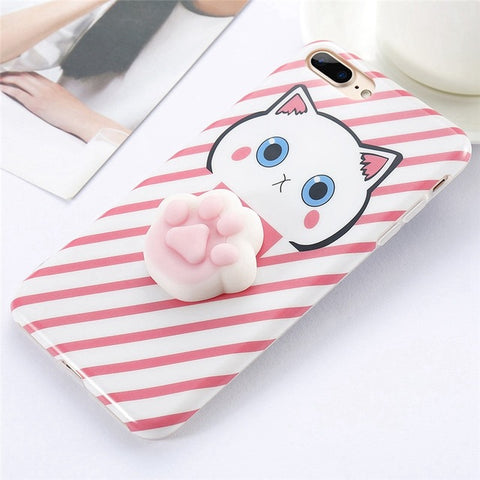 Paw Pink Stripes Squishy Case - Kawaii Treats