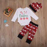 First Christmas Long Sleeves Romper + Printed Pants and Hat Terno
