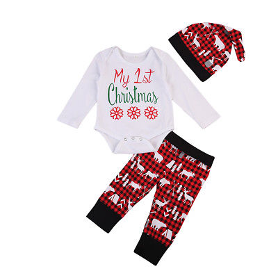 First Christmas Long Sleeves Romper + Printed Pants and Hat Terno - Kawaii Treats