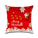 Tronzo 45*45CM Christmas Decorations For Home Xmas Pillowcase Tree Santa Claus Linen Cushion Cover Set Red Pillow Case - Kawaii Treats