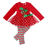 "Christmas 2 Pcs Kiddie Deer T- Shirt Lace + Leggings ""Her"" Outfit - Kawaii Treats"