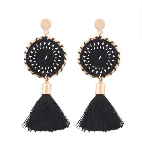 Bohemian Vintage Long Tassel Knit Fringe Dangle Earrings - Kawaii Treats