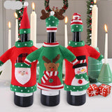 3pcs Red Wine Christmas Bottle Cover - Kawaii Treats