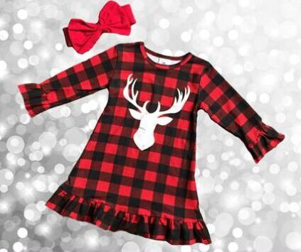 Reindeer Printed Girls Dress with Clip Bow Christmas Outfit - Kawaii Treats