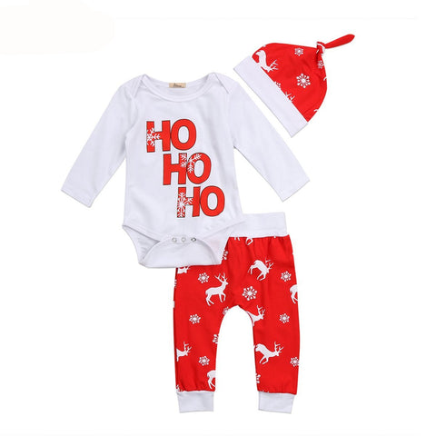 Ho Ho Ho Printed Christmas Romper Set - Kawaii Treats