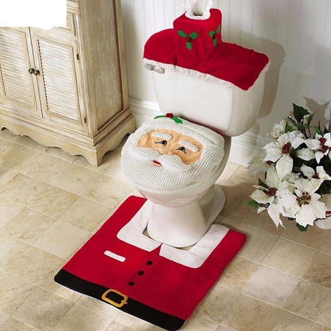 Christmas Decor Santa Clause Rug Bathroom Toilet Seat Cover - Kawaii Treats