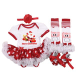 4PCS/Set Christmas Romper Lace Tutu Dress + Socks + Shoes + Bow - Kawaii Treats