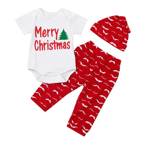 Christmas Infant Outfit  Short Sleeve Romper Tops Pants + Hats - Kawaii Treats
