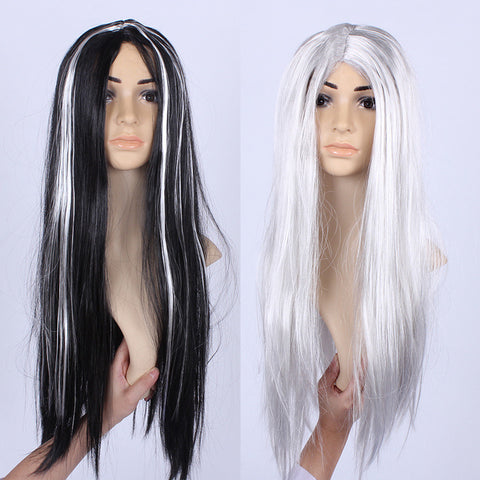Halloween Masquerade Costume Props Whole Black And Silver Hair Wig - Kawaii Treats
