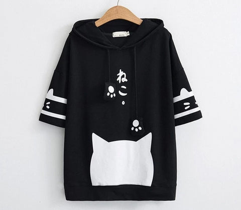 Kawaii cat black/white hooded t-shirt - Kawaii Treats