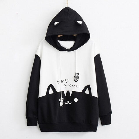 Kawaii Kitty Cat Print Pocket Thin Sweatshirt <2 Colors> - Kawaii Treats