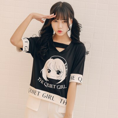 Loose Cartoon Printed Kawaii Shirt