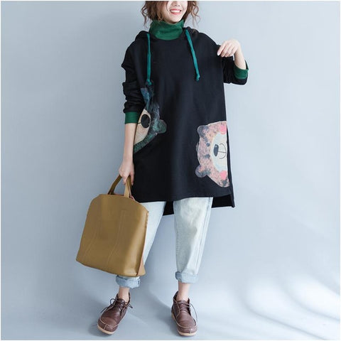 PLUS size Thick Loose Hooded Sweatshirt Dress <3 styles to choose> - Kawaii Treats