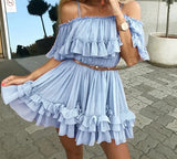 Off shoulder strap chiffon summer dress <3 Colors> - Kawaii Treats