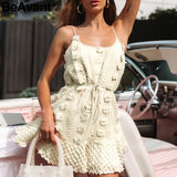 Flower embroidery short dress <2 Colors>