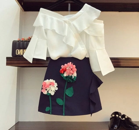 T-shirt Top + 3D Flowers Skirt Two Piece Set - Kawaii Treats