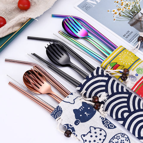 Stainless Steel Chopsticks Fork Spoon with Metal Straws Cocktail Travel Set - Kawaii Treats