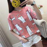Cute Cartoon Cat Print T shirt <2 Colors>
